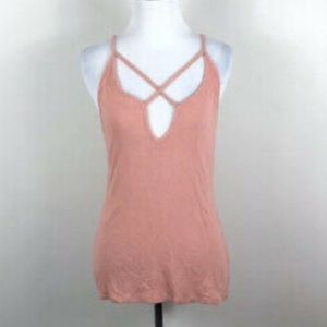 Express one eleven pink ribbed cross tank top NWOT